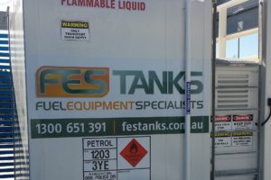Self bunded fuel storage tank. Car rental depot, Brisbane airport