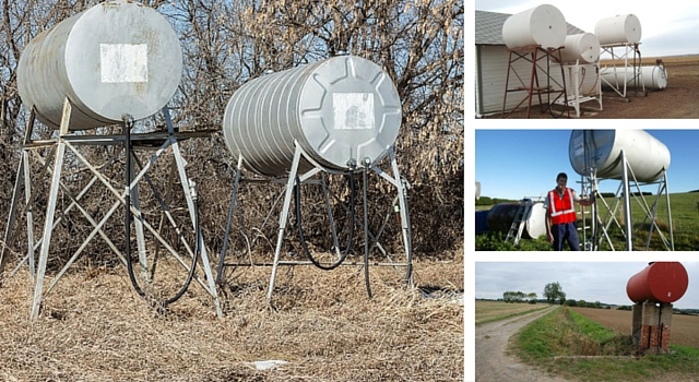 collage of above ground tanks for farming