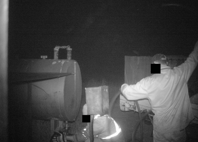 fuel theft caught on farm security camera