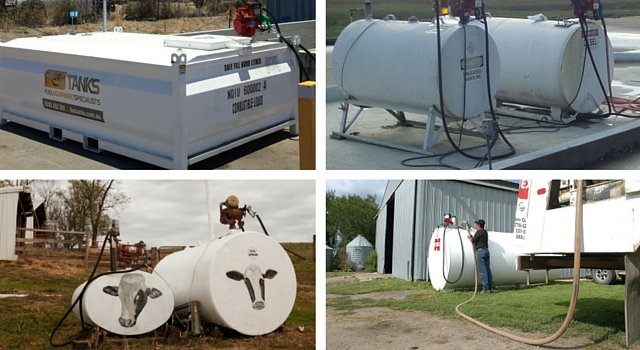 collage of on ground farm fuel tanks