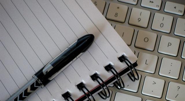 pen, pad and keyboard