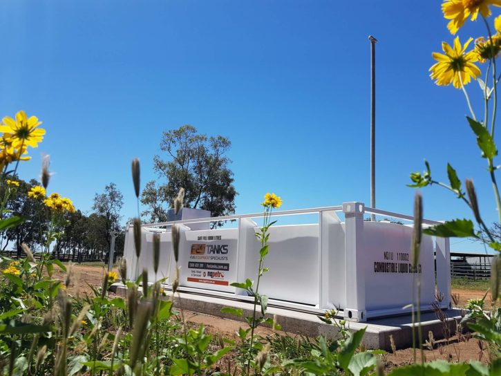 10000l self bunded tank on the farm, flowers, blue sky