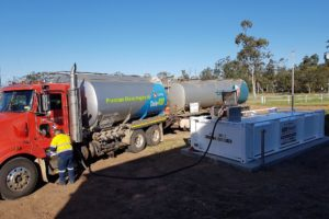 Fuel tanker filling up 10000 litre farm fuel tank