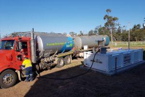 Fuel tanker filling up 10000 litre farm fuel tank