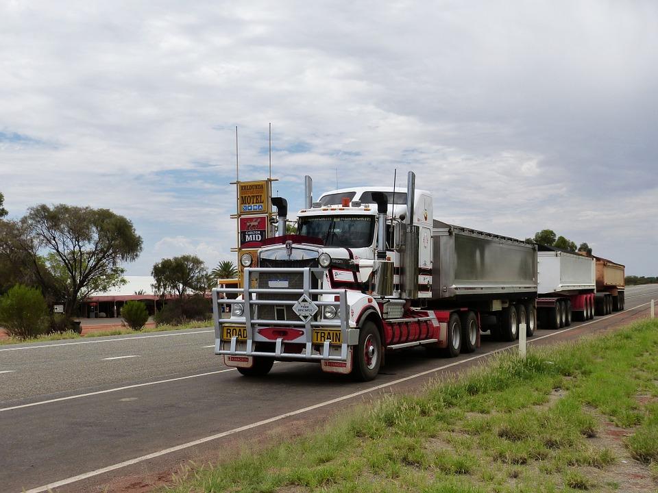 semi-trailer on road. Awarenesss around trucking emissions.