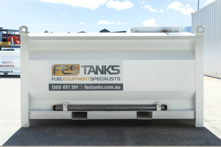 back of 2500 litre self bunded tank